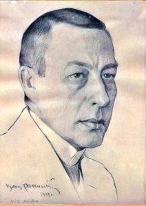Карандашный портрет С. В. Рахманинова работы художника Влад. Российского. 1917 год